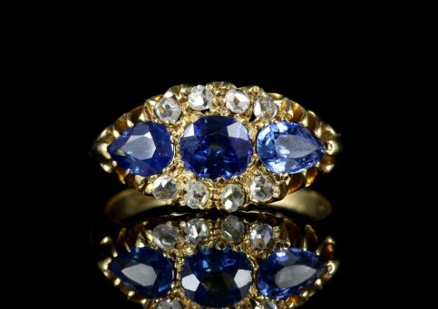 Antique Edwardian Sapphire Diamond Trilogy Ring 18ct Dated 1904/05